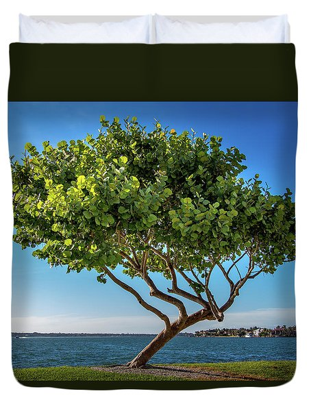 Tree On The Bay Duvet Cover