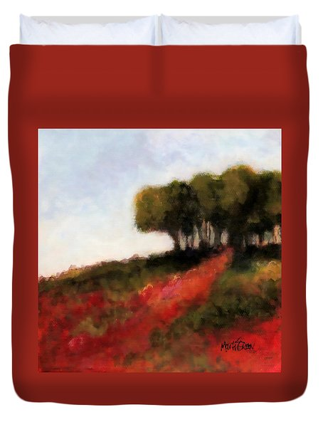 Duvet Cover featuring the painting Trees On The Hill by Marti Green