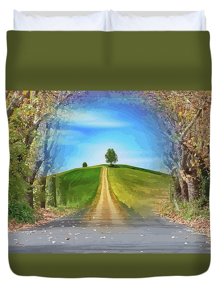 Tree On The Hill Montage Duvet Cover