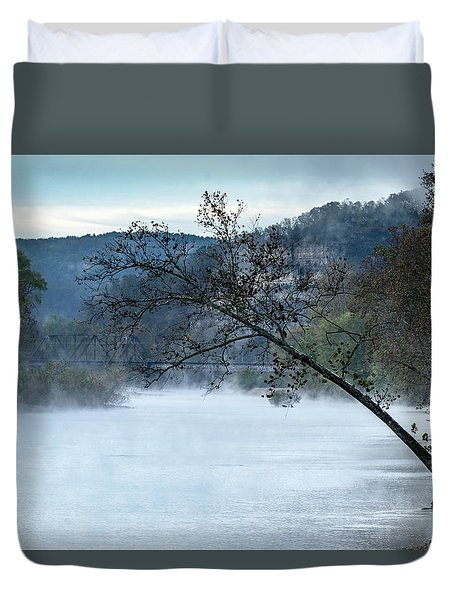 Tree Over Gasconade River Duvet Cover by Jae Mishra