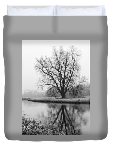 Tree Reflection In The Fox River On A Foggy Day Duvet Cover