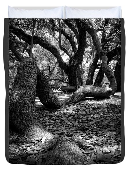 Tree Root In Black And White Duvet Cover