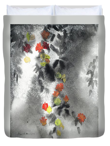 Tree Shadows And Fall Leaves Duvet Cover
