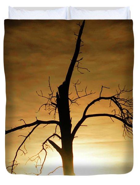 Tree Silhouette At Sundown Duvet Cover