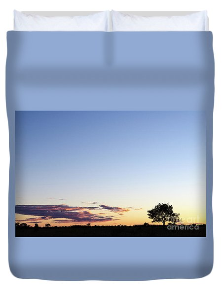 Tree Silhouette By Twilight Duvet Cover