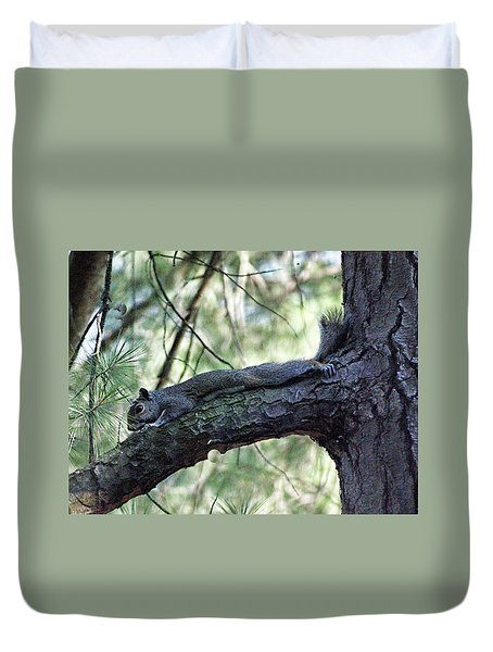Duvet Cover featuring the photograph  Tree Squirrel by B Wayne Mullins