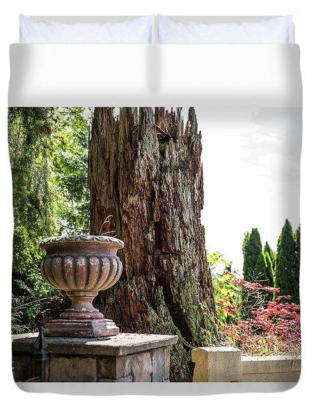 Tree Stump And Concrete Planter Duvet Cover