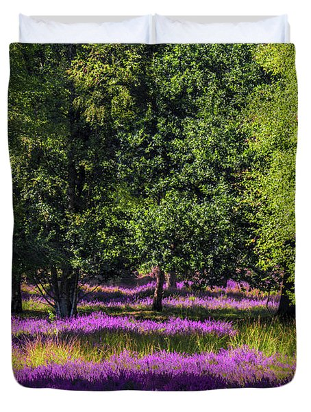 Tree Stumps In Common Heather Field Duvet Cover