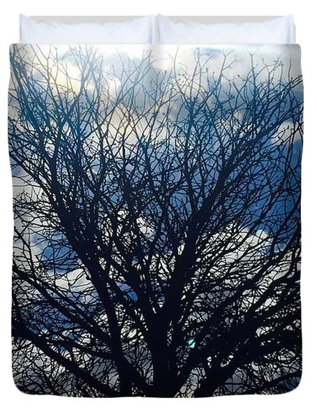 Tree Sun And Blue Sky Duvet Cover