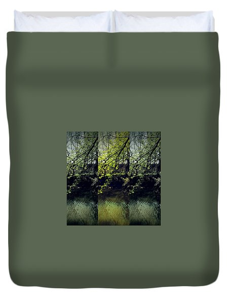 Tree Triptych Duvet Cover by Michele Carter