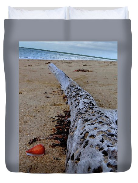 Tree Trunk And Shell On The Beach Full Size Duvet Cover