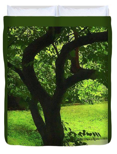 Tree Trunk Green Duvet Cover
