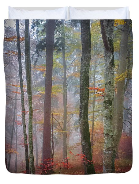 Tree Trunks In Fog Duvet Cover