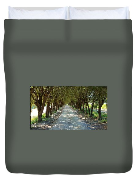 Duvet Cover featuring the photograph Tree Tunnel by Valentino Visentini