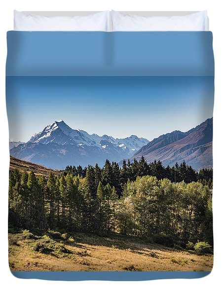 Duvet Cover featuring the photograph Tree View Of Mt Cook Aoraki by Gary Eason