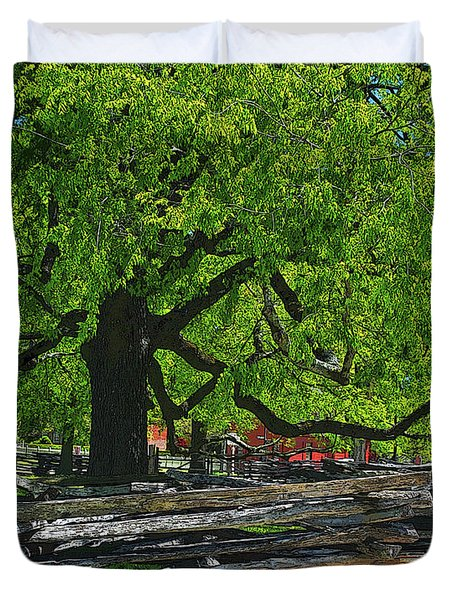 Tree With Colonial Fence Duvet Cover