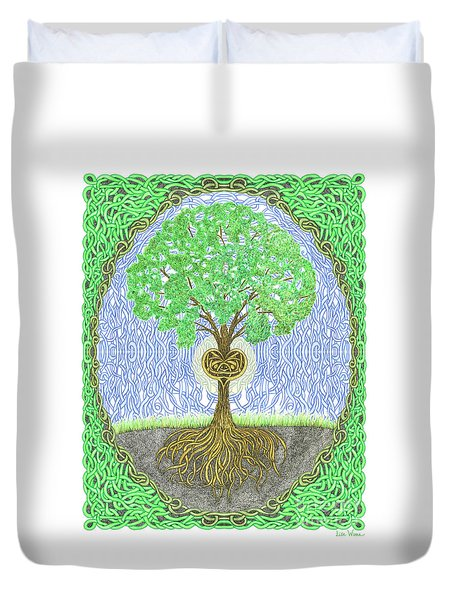 Tree With Heart And Sun Duvet Cover