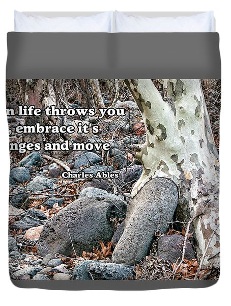 Tree With Quote Duvet Cover by Charles Ables