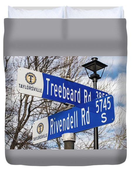 Duvet Cover featuring the photograph Treebeard And Rivendell Street Signs by Gary Whitton