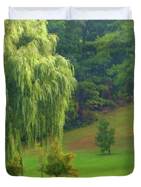 Trees Along Hill Duvet Cover