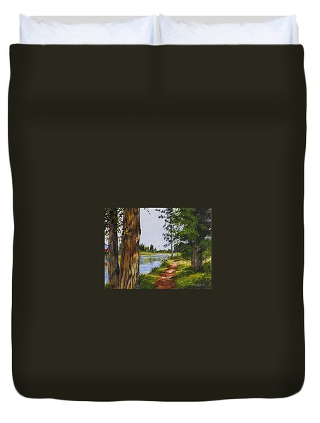 Trees Along The River Duvet Cover