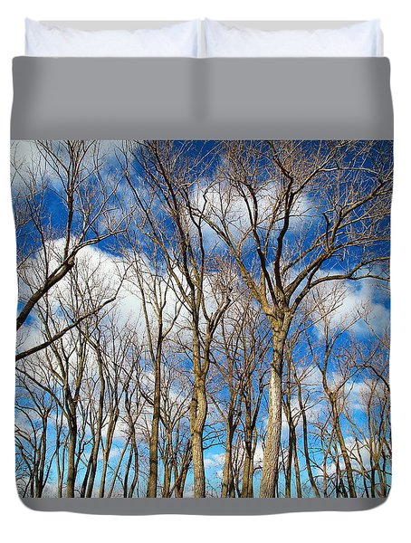 Duvet Cover featuring the photograph Trees And Clouds by Valentino Visentini