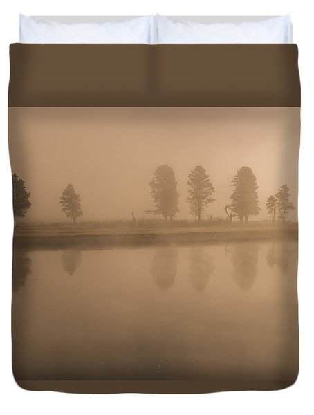 Duvet Cover featuring the photograph Trees And Fog by Gary Lengyel