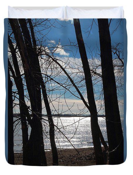 Duvet Cover featuring the photograph Trees And Lake Reflections by Valentino Visentini