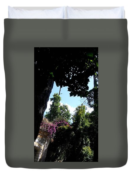 Trees And Purple Flowers Duvet Cover