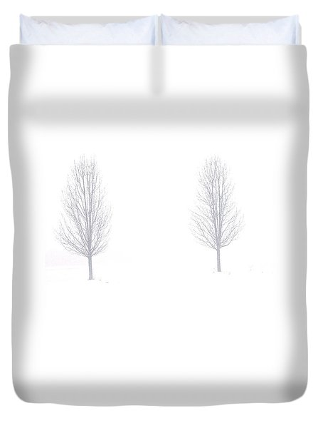 Duvet Cover featuring the photograph Trees And Snow by Daniel Thompson