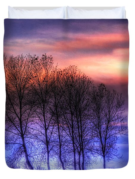 Trees And Twilight Duvet Cover
