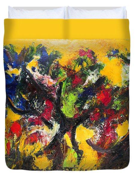 Trees At Sunset Duvet Cover by Ali Hammoud