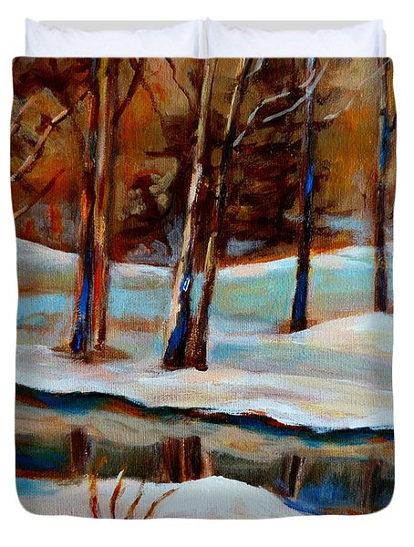 Trees At The Rivers Edge Duvet Cover by Carole Spandau