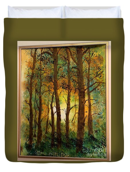 Duvet Cover featuring the painting Trees by Donald Paczynski