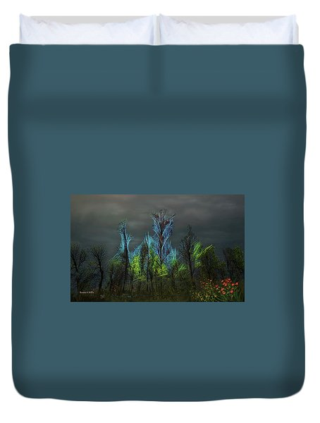Trees Electrified In Fantasy Land Duvet Cover