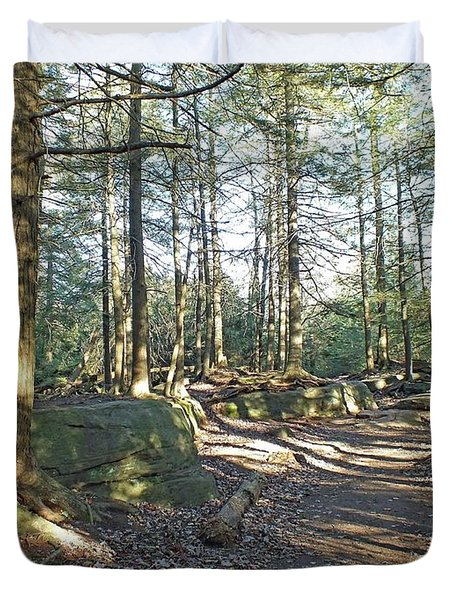 Trees Growing On Top Of Boulders - Ricketts Glen Duvet Cover