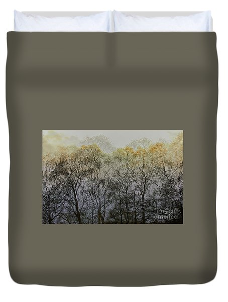 Duvet Cover featuring the photograph Trees Illuminated By Faint Sunshine, Double Exposed Image by Nick Biemans