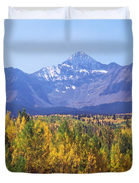 Trees In A Forest With Mountain Range Duvet Cover