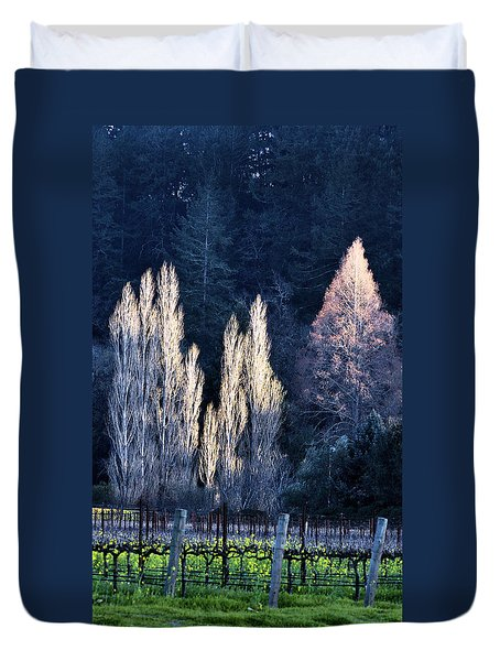 Trees In Fall Napa Valley Duvet Cover by Josephine Buschman