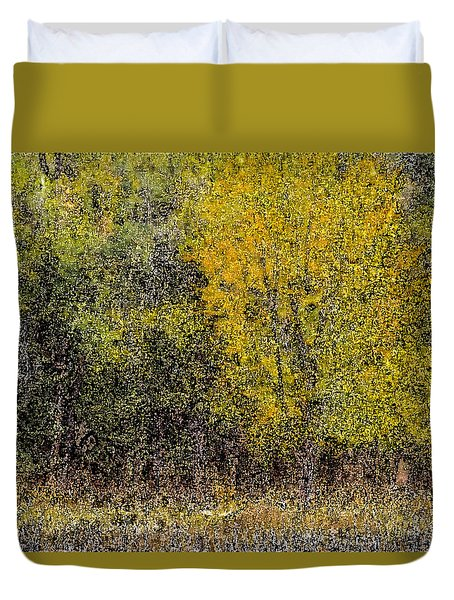 Trees In Fall With Texture Duvet Cover