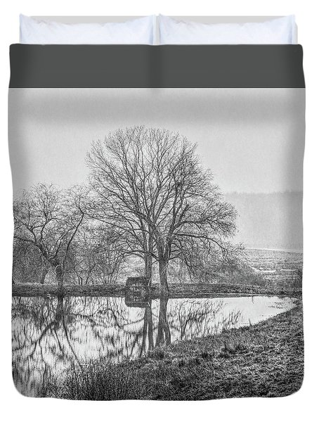 Trees In Fog Kennebunk Maine Duvet Cover