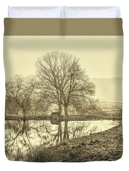 Trees In Fog Kennebunk Maine Sepia  Duvet Cover