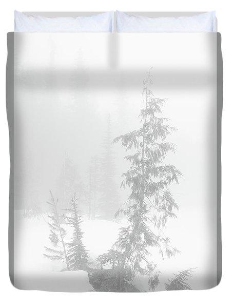 Trees In Fog Monochrome Duvet Cover