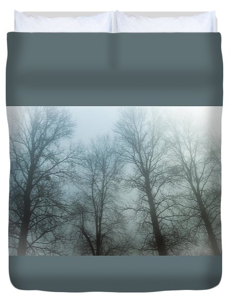 Trees In Mist Duvet Cover