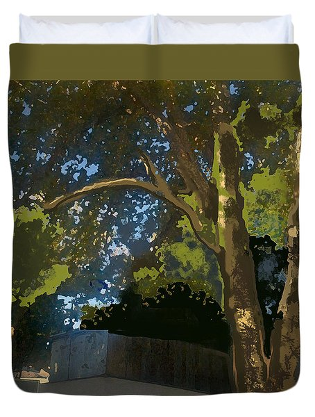 Trees In Park Duvet Cover