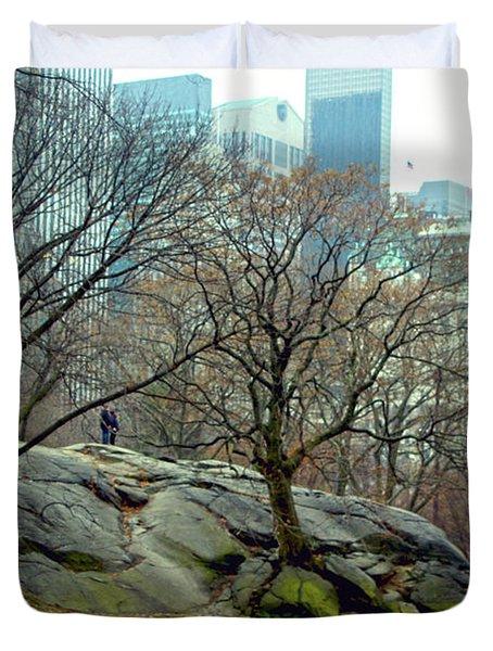 Trees In Rock Duvet Cover by Sandy Moulder