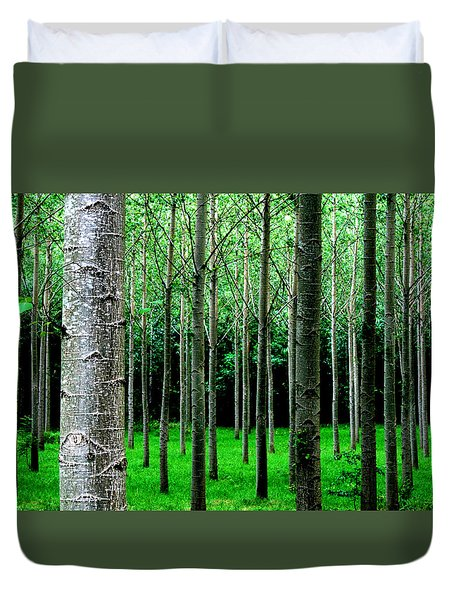 Trees In Rows Duvet Cover