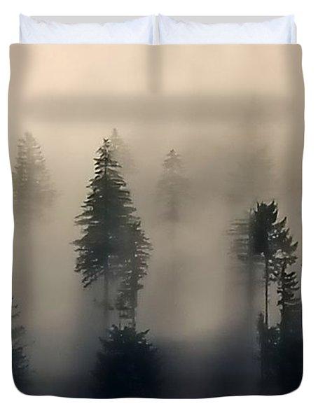 Trees In The Fog Duvet Cover