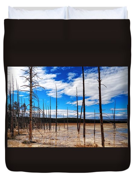 Duvet Cover featuring the photograph Trees In The Midway Geyser Basin by Lars Lentz