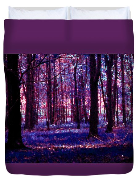 Duvet Cover featuring the photograph Trees In The Woods In Pink And Blue by Michelle Audas